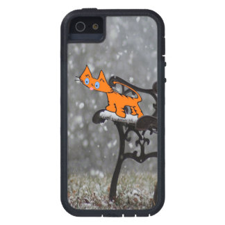 Cat Catches Snow Flakes O His Tong iPhone SE/5/5s Case