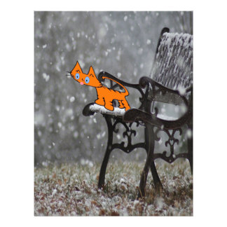 Cat Catches Snow Flakes O His Tong Letterhead