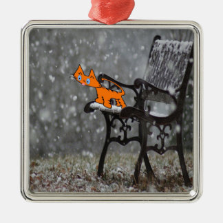Cat Catches Snow Flakes O His Tong Metal Ornament