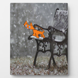 Cat Catches Snow Flakes O His Tong Plaque