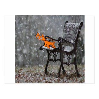 Cat Catches Snow Flakes O His Tong Postcard