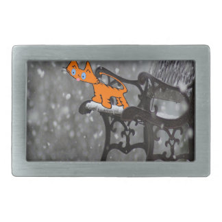 Cat Catches Snow Flakes O His Tong Rectangular Belt Buckle