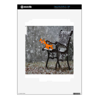 Cat Catches Snow Flakes O His Tong Skins For iPad 2