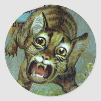 Cat Caught by the Tail Victorian Trade Card Classic Round Sticker
