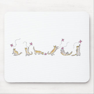 Cat Chasing a Butterfly Mousepad