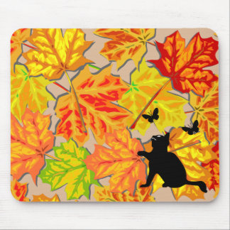 Cat Chasing Butterflies and Fall Leaves Mouse Pad