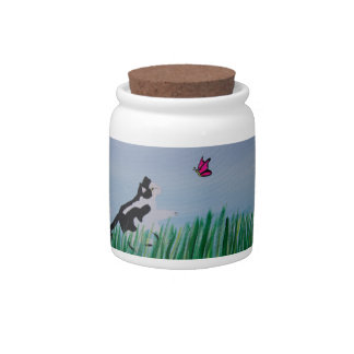 Cat Chasing Butterfly Candy Dish