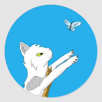 Cat chasing butterfly. classic round sticker