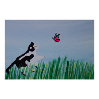 Cat Chasing Butterfly Print