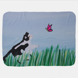 Cat Chasing Butterfly Swaddle Blanket