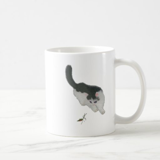 Cat Chasing Cricket Classic White Coffee Mug