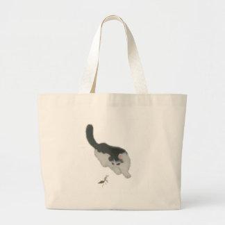 Cat Chasing Cricket Large Tote Bag
