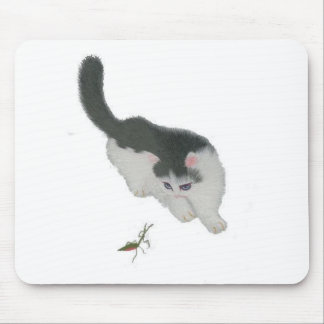 Cat Chasing Cricket Mouse Pad