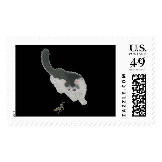 Cat Chasing Cricket Postage Stamp