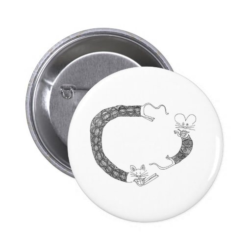 cat chasing mouse pinback button