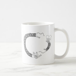 cat chasing mouse classic white coffee mug