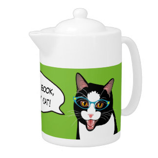 Cat Chat ALL I NEED IS TEA! BlissAndKittens kitty Teapot