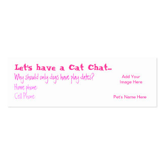 Cat Chat Calling Card Double-Sided Mini Business Cards (Pack Of 20)