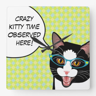 Cat Chat CRAZY KITTY TIME Kitchen Clock