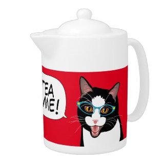 Cat Chat TEA TIME! by BlissAndKittens Tuxedo kitty Teapot