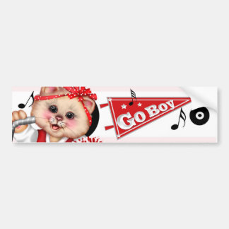 CAT CHEERLEADER CUTE Bumper Sticker 2