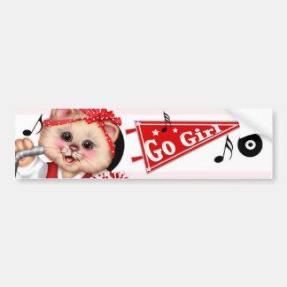 CAT CHEERLEADER CUTE Bumper Sticker 3