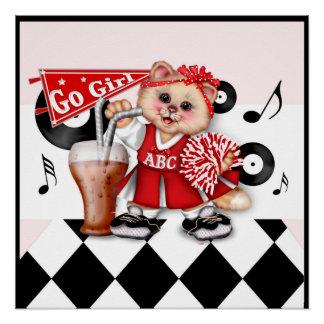 CAT CHEERLEADER CUTE CARTOON Perfect Poster