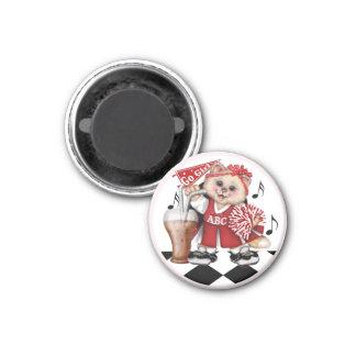 CAT cheerleader LOVE ROUND Magnet 1¼ Inch