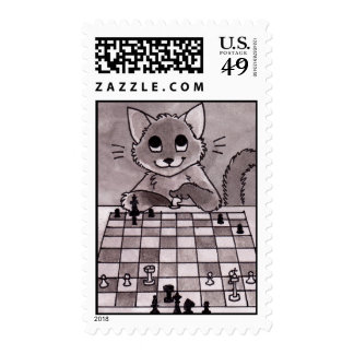 Cat Chess Postage