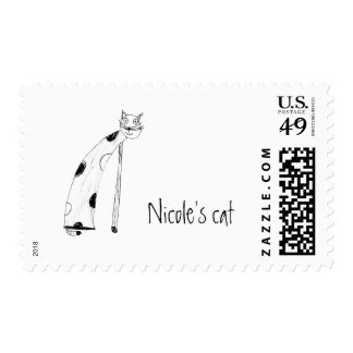 Cat, children's drawings postage
