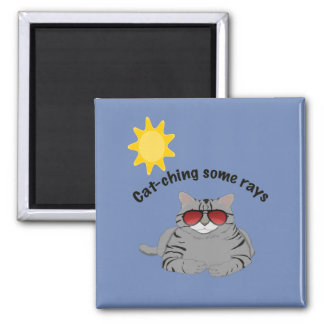 Cat-ching some rays cat refrigerator magnet