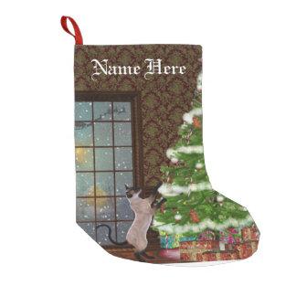 Cat Chistmas tree stocking Small Christmas Stocking