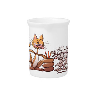 Cat Choosing a Mouse by Drawing the Short Straw Drink Pitchers