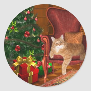 Christmas Themed Cat Christmas Classic Round Sticker