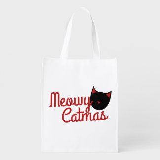 Cat Christmas Grocery Bag