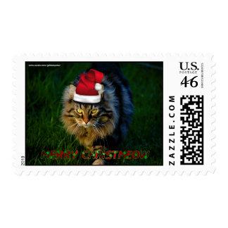 Cat Christmas Happy Holidays Season's Greetings Postage