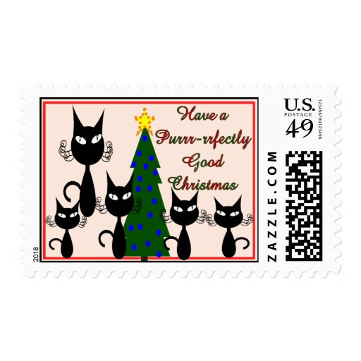 cat christmas Purrfectly good xmas postage stamp
