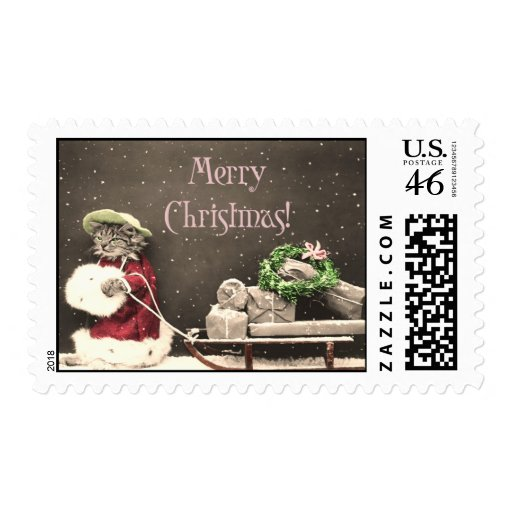Cat Christmas Shopper Holiday Vintage Stamp