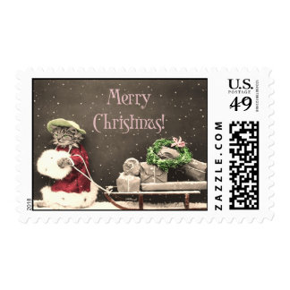 Cat Christmas Shopper Holiday Vintage Stamp