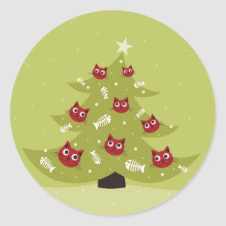 Cat Christmas Tree With Fish Ornaments Classic Round Sticker