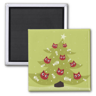 Cat Christmas Tree With Fish Ornaments Magnet