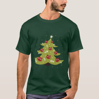Cat Christmas Tree With Fish Ornaments Mens T-Shirt