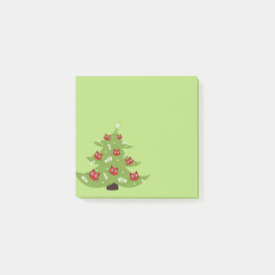 Cat Christmas Tree With Fish Ornaments Post It Notes