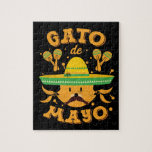 Cat Cinco de Mayo Cinco de Meow Kitten Sombrero Jigsaw Puzzle