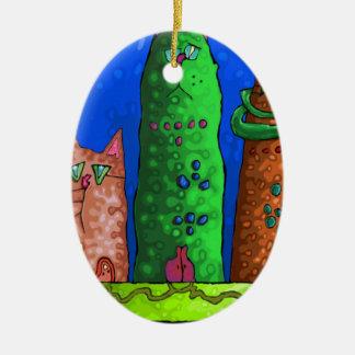 cat city ceramic ornament