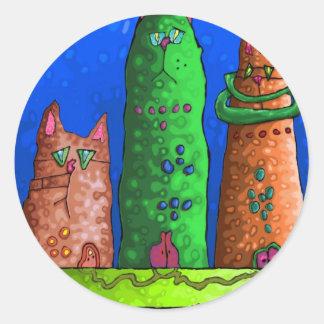 cat city classic round sticker