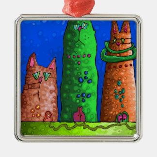 cat city metal ornament
