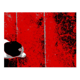 Cat Climbing Stairs Red Black & White Postcard