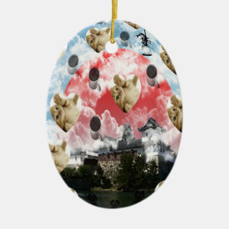 Cat coffee Imabari compilation 5 Double-Sided Oval Ceramic Christmas Ornament