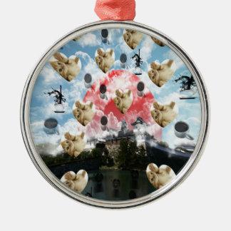 Cat coffee Imabari compilation 6 Round Metal Christmas Ornament